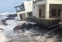 rising sea mexico, sea swallows building in mexico, house swallowed by rising sea mexico, mexico rising sea swallowed, high sea swallows house