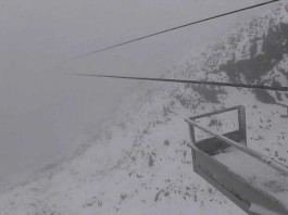 snowfall montana idaho Wyoming july 2015, snow storm rockies july 2015, snowfall northern rockies july 27 2015, Snow in July at Big Sky resort near the top of Lone Peak, Montana., snow montana july 2015, snow idaho july 2015, snow wyoming july 2015