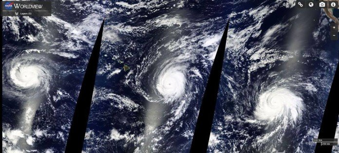 3 major hurricanes pacific ocean, 3 major hurricanes pacific ocean kilo ignacio jimena august 2015, kilo hurricane august 2015, ignacio hurricane august 2015, jimena hurricane august 2015, The three Cat. 4 hurricanes sweeping through the Pacific Ocean. From left to right: Kilo, Ignacio and Jimena, High-resolution images of the 3 Category 4 hurricanes Kilo, Ignacio and Jimena. Photo by NASA