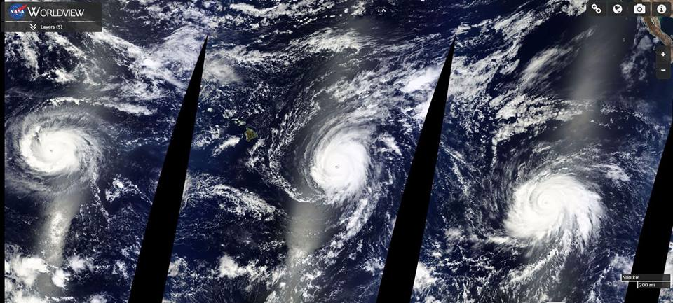 3 major hurricanes pacific ocean, 3 major hurricanes pacific ocean kilo ignacio jimena august 2015, kilo hurricane august 2015, ignacio hurricane august 2015, jimena hurricane august 2015, The three Cat. 4 hurricanes sweeping through the Pacific Ocean. From left to right: Kilo, Ignacio and Jimena, High-resolution images of the 3 Category 4 hurricanes Kilo, Ignacio and Jimena. Photo by NASA