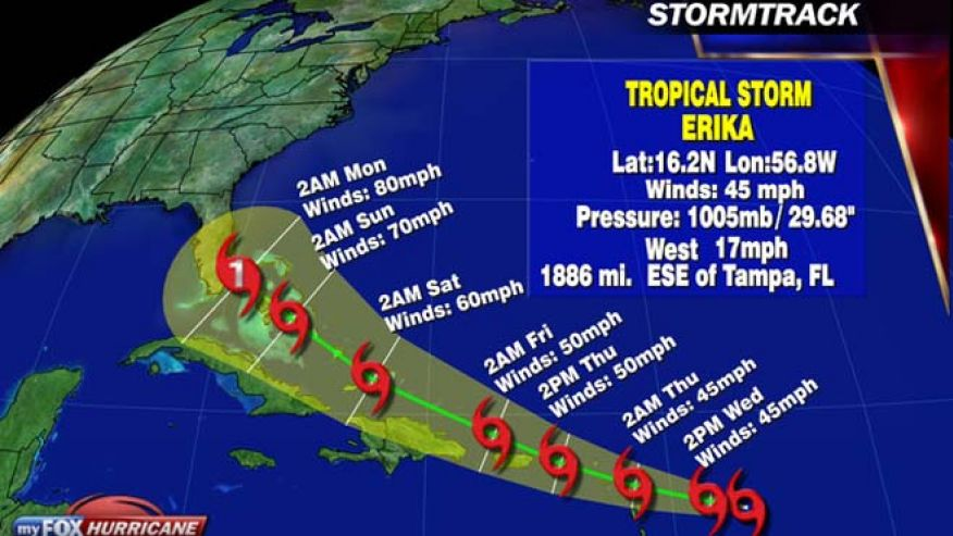 erica tropical storm map, erika to touch florida, erika state of emergency florida, state of emergency florida august 28 2015