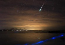 meteor bioluminescence, meteor glowing ocean, meteor strikes over bioluminescent ocean, meteor and bioluminescence photo, Meteor disintegrates over a glowing ocean at Jervis Bay Australia, bioluminescence vs meteor, best meteor photo