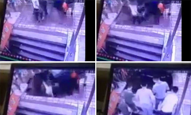 sinkhole busstop china, sinkhole busstop harbin, sinkhole swallows 5 persons at busstop august 2015, sinkhole swallows 5 persons at busstop video, sinkhole swallows 5 persons at busstop photos, sinkhole swallows people at busstop, busstop sinkhole harbin china video