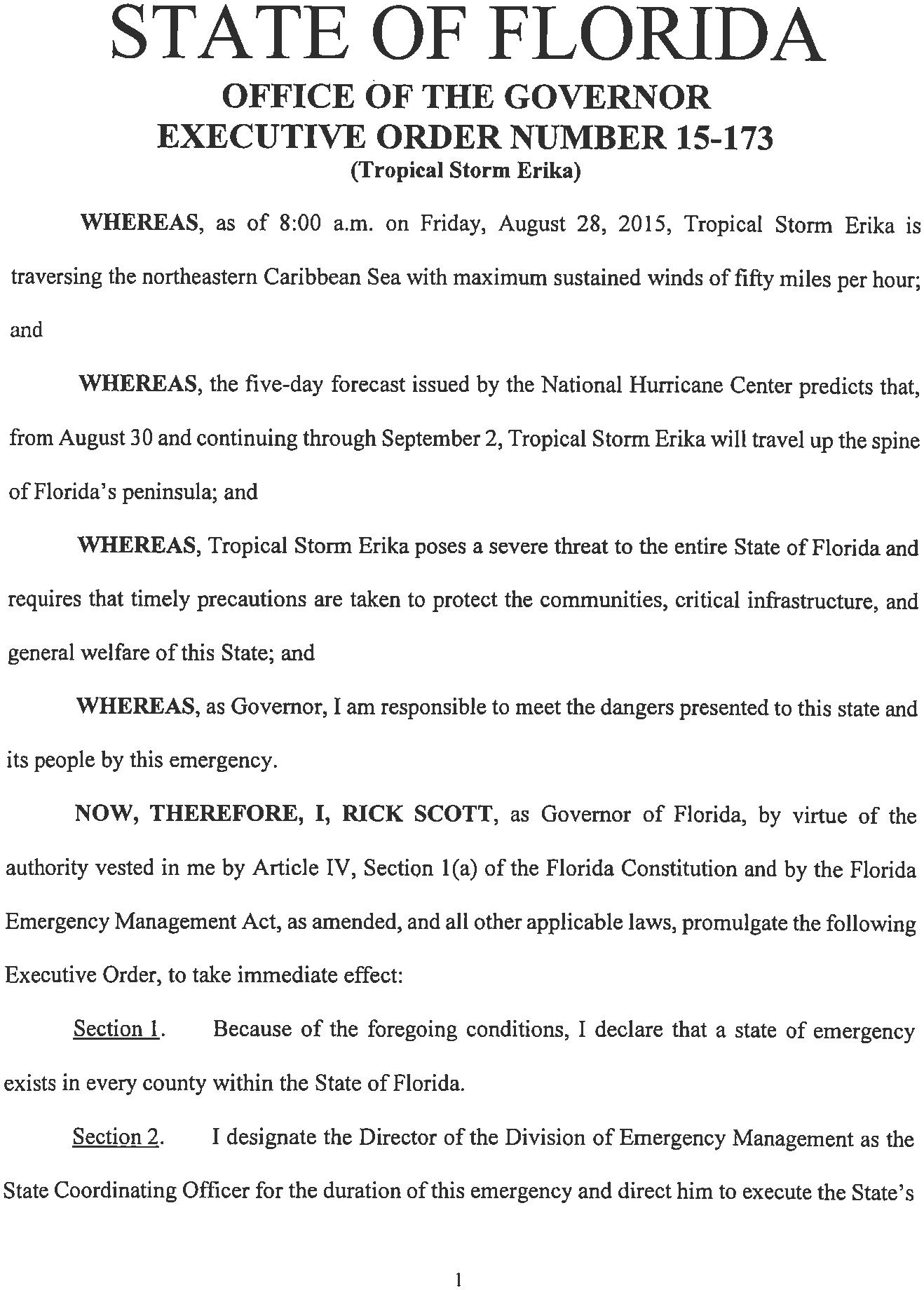 state emergency florida erika, state of emergency declared in florida, state of emergency florida due to erika, state of emergency florida torpical storm erika