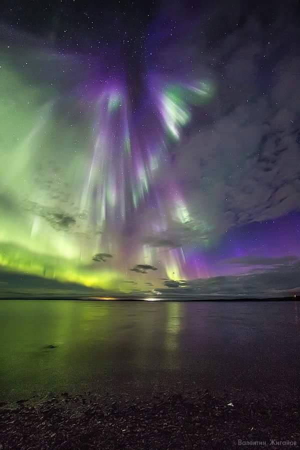 angel sky aurora, aurora looks like an angel, angel-shaped northern lights, angel-shaped auroras, angel shape aurora forms in russian sky, There is an auroral angel in the sky over Murmansk
