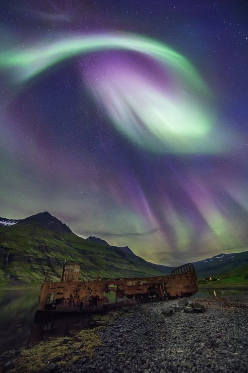 aurora lenticular clouds, lenticular clouds colored green by northern lights, auror color lenticular clouds green, green lenticular clouds due to aurora in iceland, lenticular clouds northern lights green, Awesome lenticular clouds captured at sunset over Iceland