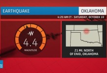 oklahoma earthquake october 10 2015, enid oklahoma earthquake october 10 2015, M4.4 earthquake rattles oklahoma and kansas october 10 2015, Parts of Oklahoma and Kansas were rattled by a Saturday morning quake, okearthquake october 10 2015, magnitude 4.4 earthquake rattles oklahoma and kansas on october 10 2015