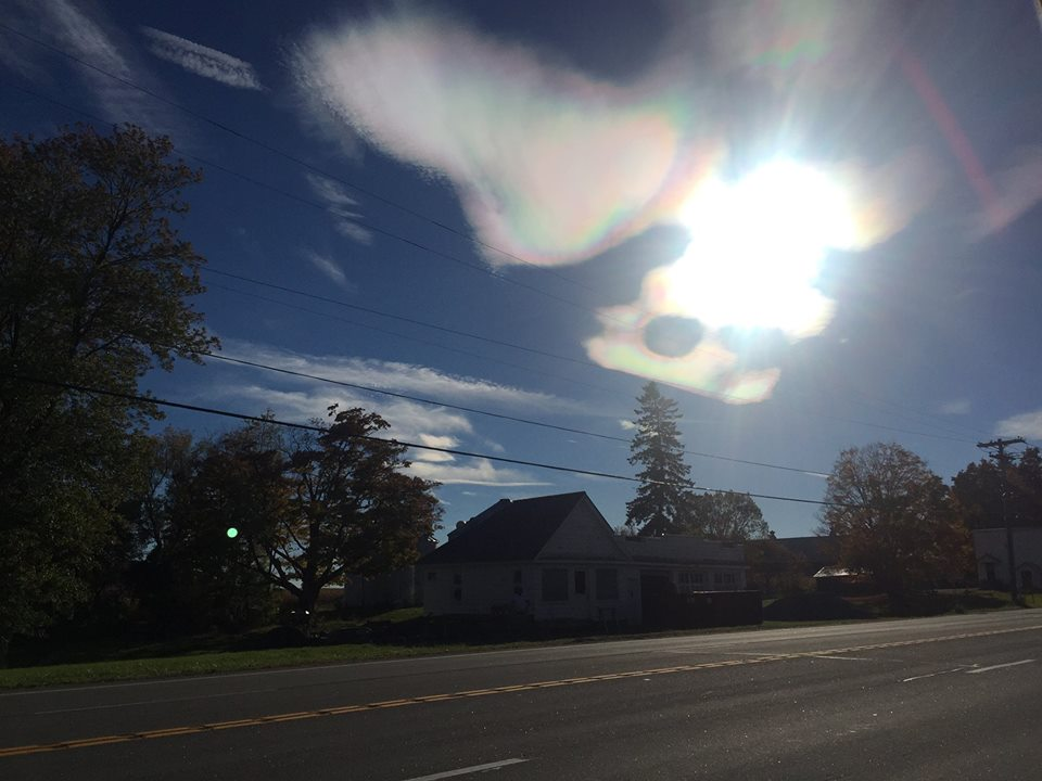 rainbow cloud, iridescent cloud, rainbow cloud NY, iridescent cloud NY, upstate rainbow cloud upstate ny, upstate new york rainbow cloud october 2015, This incredible iridescent cloud was spotted in Upstate New York on October 12 2015