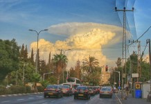 strange cloud tel aviv, massive Cumulonimbus cloud tel aviv, giant cumulonimbus photo, best Cumulonimbus cloud picture, tel aviv giant cloud, omnious cloud tel aviv, giant cloud engulfs tel An amazing cumulonimbus cloud looking like a mushroom nuclear explosion formed in the sky over Tel Aviv, Israel on September 30, 2015. Any signs from heaven?aviv israel,