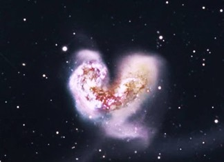 antennae galaxies heart universe, heart-shaped galaxy, galactical collision, galactical collision antennae galaxies, antennae galaxies collision, heart shaped galaxies, heart in universe, largest heart in universe, Roberto Antezana captured this awesome picture of the largest heart galaxies in the whole universe on November 11 2015 at 11:11