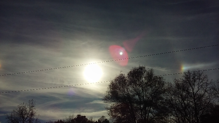 sun dogs, sun dogs georgia, sundogs georgia november 2015, Did you also observe these sundogs in the sky of Georgia on November 24 2015? Photo: Larry Martin, Sun dog, sundogs, mock suns, phantom suns, parhelia, And what is this fourth sun appearing behind the sun? Planet X?