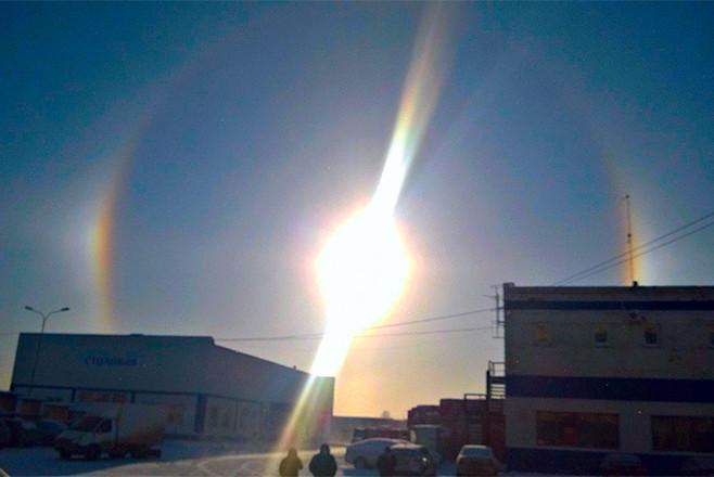 solar halo chelyabinsk, sun dog chelyabinsk, triple sun chelyabinsk, 3 suns in chelyabinsk, threes uns phenomenon chelyabinsk november 2015