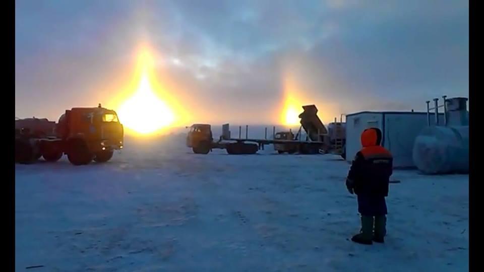 three suns, phantom sun, sundogs, three suns november 2015, three suns russia, three suns phenomenon, three suns phenomenon video, sundog video, phantom sun video,
