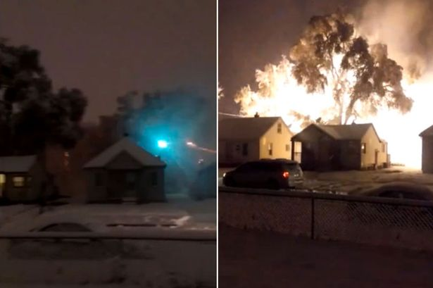 Heavy snow in Warren Michigan makes houses catch fire, Heavy Snow Makes Houses Catch FIRE, strange phenomenon warren michigan, fire warren michigan, Incredible fire caused by heavy snow on power lines, fire heavy snow michigan