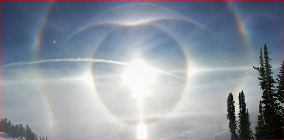 ice halos Jackson Hole wyoming, eerie halos Jackson Hole wyoming, ice halos jackson hole, rare ice halos wyoming, eye appears in sky of wyoming, giant eye appears in sky of Wyoming, eerie ice halos skiiers wyoming, sky phenomenon december 2015, sky phenomena december 2015, ice halos jackson hole wyoming picture, These incredibly rare ice halos appeared in the sky of Jackson Hole, Wyoming on December 3 2015 and look like a giant eye in the sky.