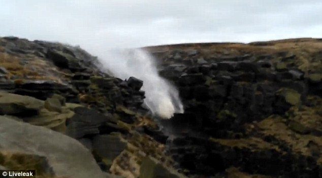 picture of a waterfall blown backwards by high winds during Storm Desmond, storm desmond transforms waterfall into fountain, storm desmond picture, storm desmond 2015 photo, storm desmond 2015 video, deadly storm desmond uk december 2015 pictures and videos