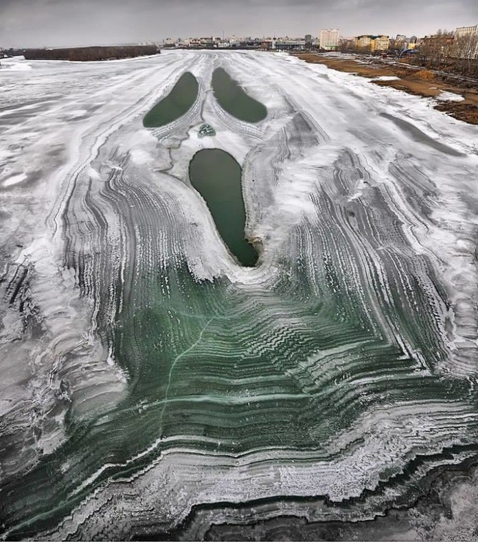 ghostface river russia, ghostface frozen river russia, ghostface appears on frozen river in russia, ghostface frozen river russia picture