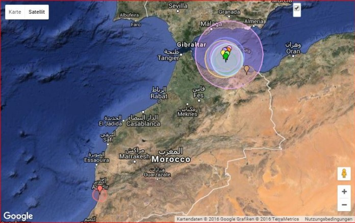morocco earthquake, morocco earthquake swarm, Strong Earthquake Strikes Mediterranean, morocco earthquakes, morocco earthquake january 25 2016, morocco stron earthquake, , Strong Earthquake Strikes Mediterranean january 25 2016, Location map of the earthquake swarm that struck off Morocco in the Mediterranean Sea on January 25 2016.