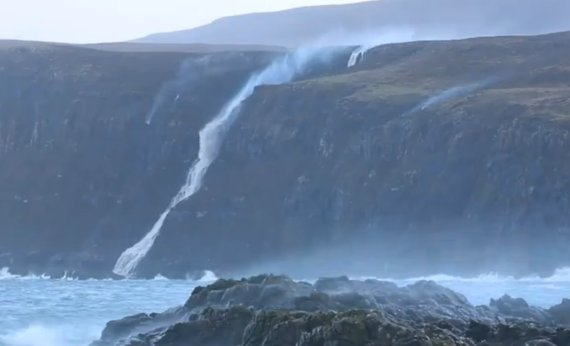 storm gertrude waterfall backwards video