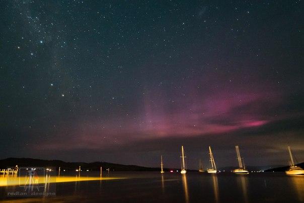 purple auroras, purple aurora australis, aurora australis picture, best picture aurora australis tasmania february 2016, aurora australis february 2016 photo
