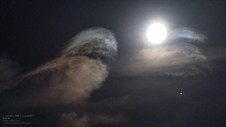 Moon-Jupiter conjunction with Kelvin-Helmholtz clouds