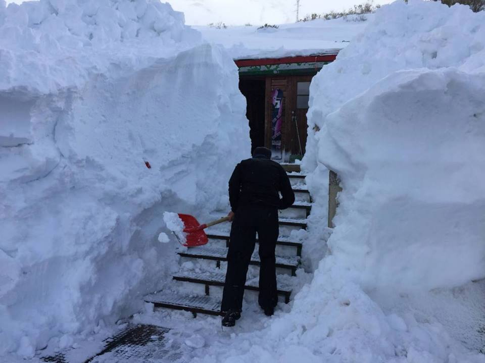 Dangerous Snow Accumulation In Alto Campoo Spain