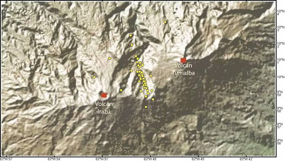earthquake swarm between two volcanoes in Costa Rica, two volcanoes hit by earthquake swarm in costa rica, costa rica, volcano earthquake swarm