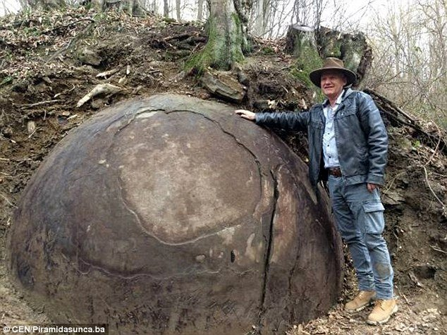 mysterious man-made sphere bosnia, rock sphere bosnia, mysterious stone ball bosnia, archeologist discovers giant rock sphere bosnia, bosnia man-made sphere april 2016