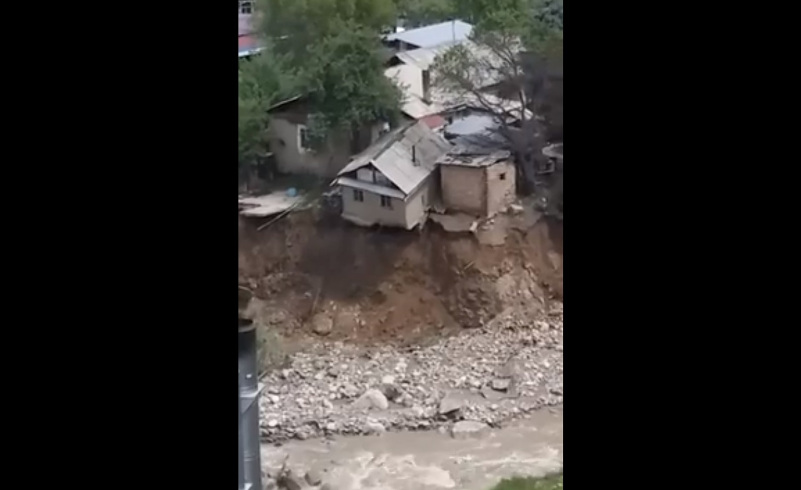 house collapse almaty, house collapse almaty video, house collapse in river in almaty video, video house collapse almaty Kazakhstan
