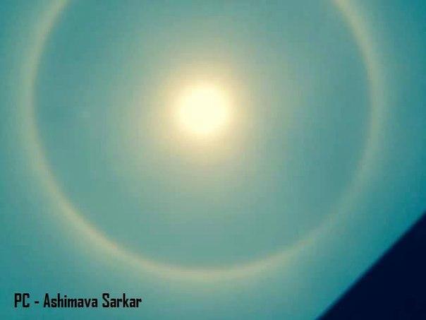 kolkata sun halo, solar halo india, india solar halo, kolkata solar halo