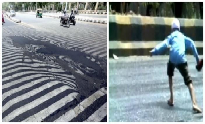 melting roads india, melting roads india video, melting roads gujarat, tar melting india, india heat wave may 2016, asphalt melts in india, heat wave melts asphalt in india
