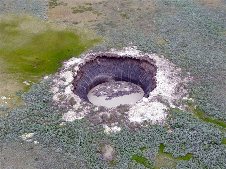 230 Foot Crater Forms in Siberia