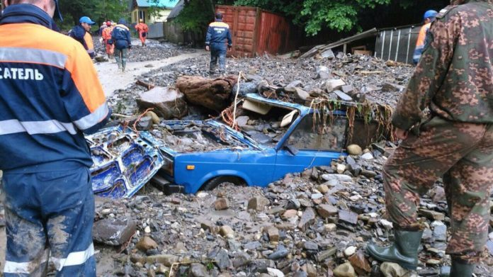 mudflow sochi, mudflow sochi june 2016, mudflow sochi picture 2016, mudflow sochi pictures june 4 2016, 29 rescued after mudflow blocks village sochi