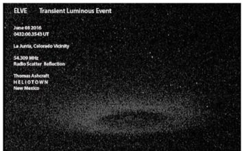 elve picture june 2016, transient luminous event june 2016, mysterious donut, ELVE and Sprite June 08 2016 Southeast Colorado with Radio Scatter Reflection