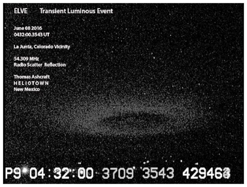 elve picture june 2016, Mysterious ring of light appears near the edge of space over Colorado, elve colorado june 2016 picture, transient luminous event june 2016, mysterious donut, ELVE and Sprite June 08 2016 Southeast Colorado with Radio Scatter Reflection