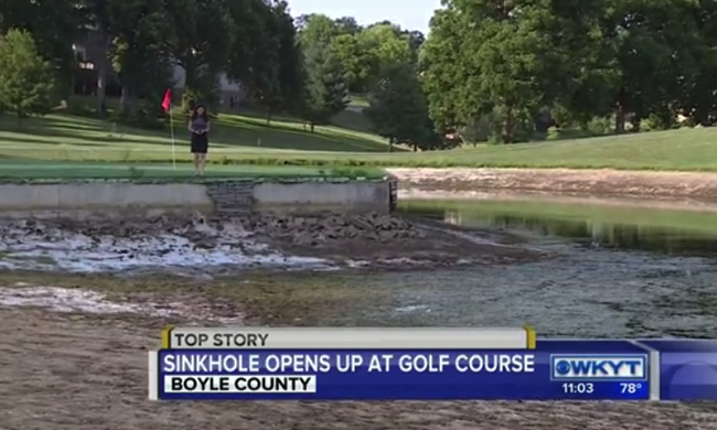 Sinkhole swallows pond at Kentucky golf course, Sinkhole 'swallows' pond at Boyle County golf course, sinkhole kentucky swallows pond golf course, sinkhole swallows pond golf course kentucky, Sinkhole 'swallows' pond at Boyle County golf course video, Sinkhole 'swallows' pond at Boyle County golf course photo, Sinkhole 'swallows' pond at Boyle County golf course pictures, Sinkhole 'swallows' pond at Boyle County golf course june 2016