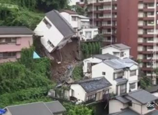 house collapse japan nagasaki mudslide video, house collapse japan video, house collapses after landslide japan video, house collpase japan video