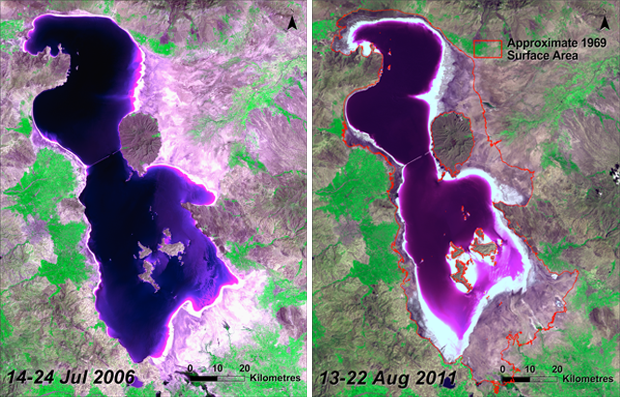 lake urmia disappearing, lake urmia drying up, lake disappearing around the world