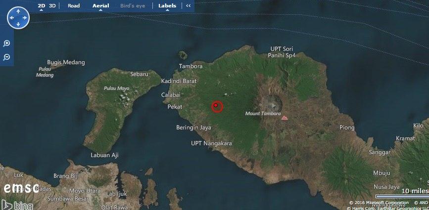 M5.8 earthquake mount tambora volcano, strong earthquake tambora volcano, tambora volcano strong earthquake july 31 2016, M5.8 earthquake hits mount tambora