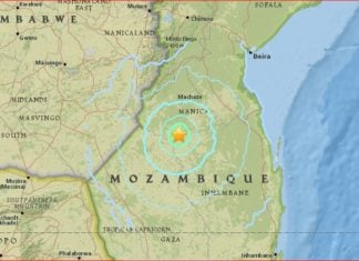 mozambique earthquake, mozambique earthquake september 22 2016, rare mozambique earthquake, map mozambique earthquake