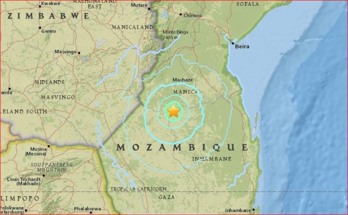 mozambique earthquake, mozambique earthquake september 22 2016, rare mozambique earthquake, map mozambique earthquake