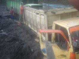 Lahar buries nine trucks at Merapi Volcano, Indonesia on October 27, 2016.