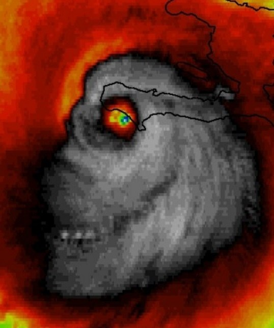 Hurricane Matthew monster, Hurricane Matthew skull, Hurricane Matthew monster skull, Hurricane Matthew formed into a skull,