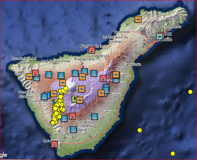 tenerife earthquake swarm, 90 earthquakes hit tenerife, enhanced seismic activity tenerife, tenerife quake series, tenerife earthquake swarm october 2016