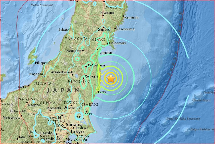 M6.9 earthquake japan november 21 2016, japan earthquake november 2016, strong earthquake japan november 21 2016, M6.9 earthquake fukushima japan november 21 2016