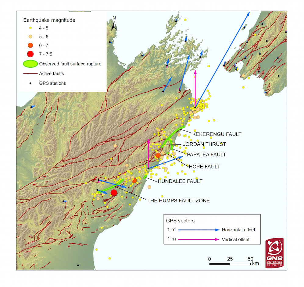 New Zealand Quake Ruptured 6 Faults, 6 faults ruptured after NZ earthquake, A new map reveals that six faults ruptured during the Nov. 14 Kaikoura earthquake in New Zealand. The magnitude-7.8 quake ruptured at least four faults along the coast, as well as two inland