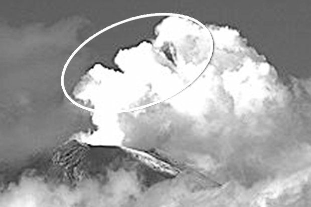 sourire volcan Popocatepetl, le visage du volcan Popocatepetl, volcan Popocatepetl visage souriant, la fumée du volcan Popocatepetl visage souriant