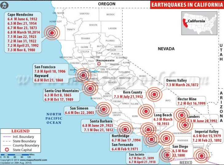 Map of strong earthquakes in California over the past 200 years, earthquake, california, cascadia, san andreas fault