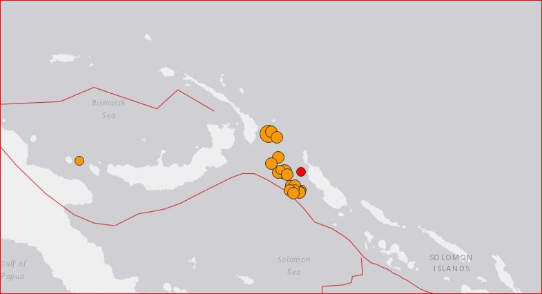 Swarm of aftershoks after the M7.9 earthquake off PNG on December 17, 2016. via USGS