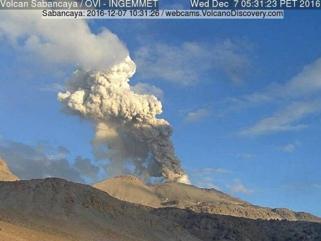 sabancaya, sabancaya volcano, sabancaya eruption, sabancaya eruption dec 2016, sabancaya explosion december 2016, 350 explosions sabancaya one week